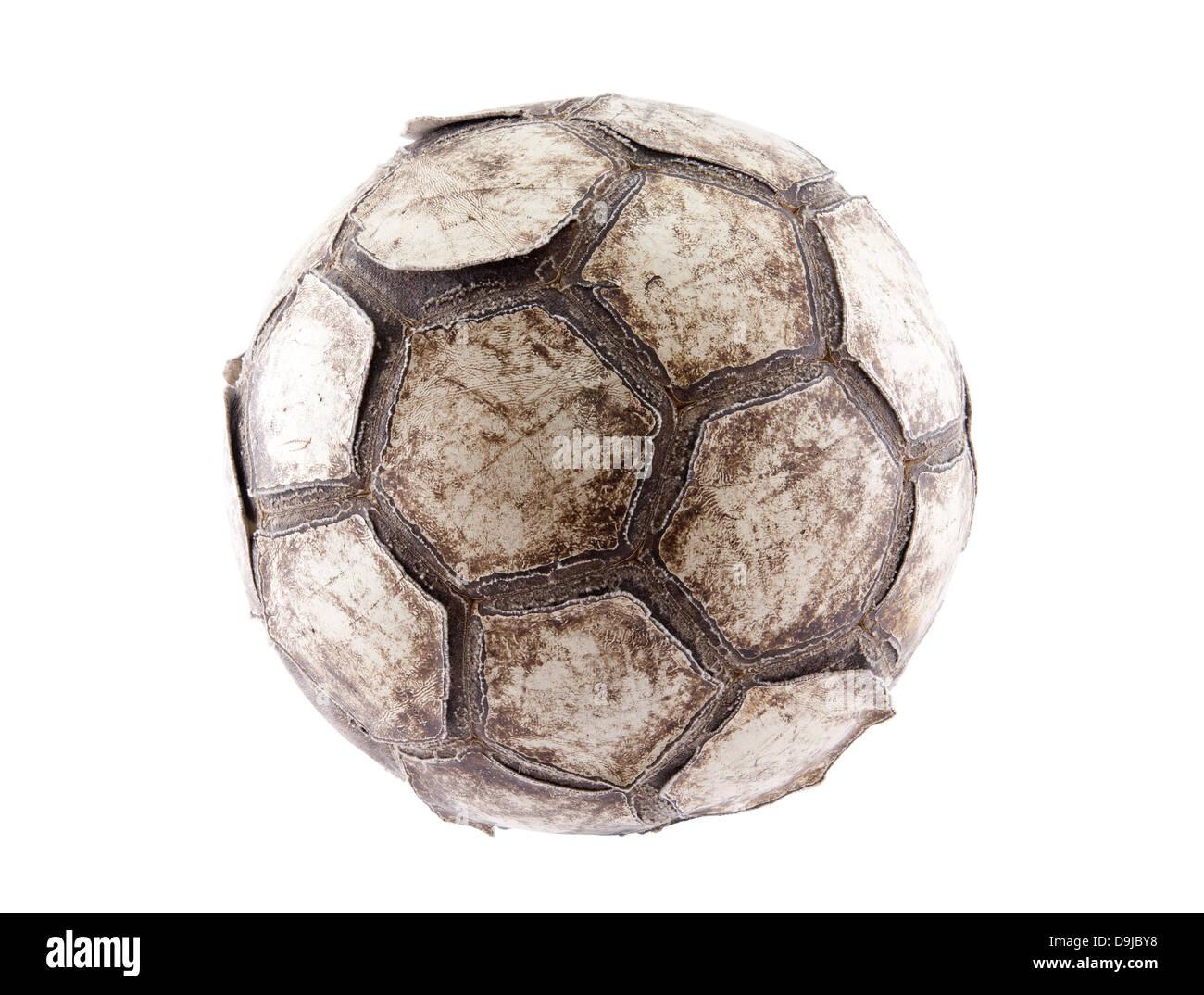 Vecchio Pallone da calcio con tracciato di ritaglio Foto Stock
