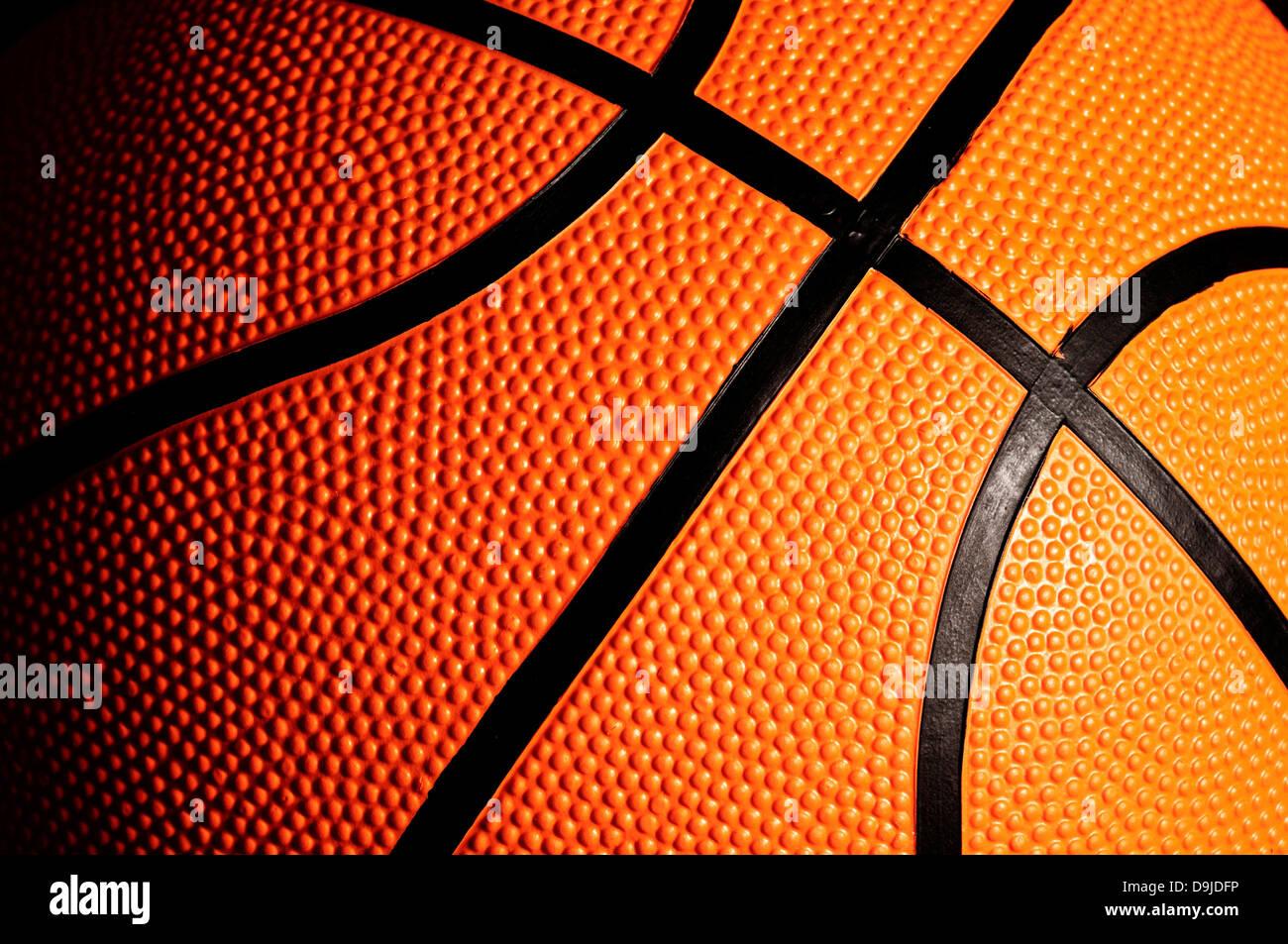 Dettaglio di una palla da basket Foto Stock