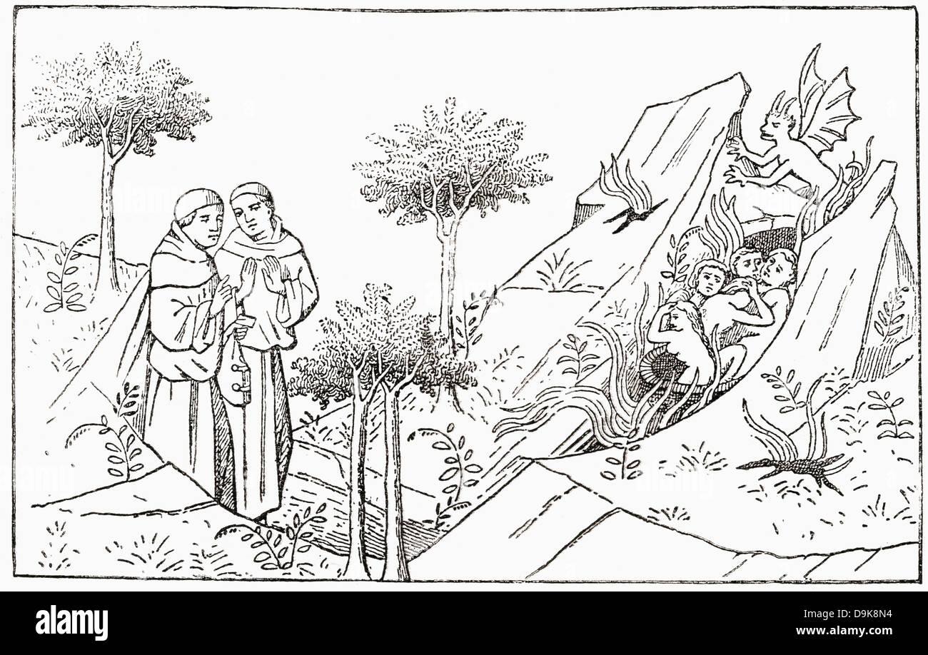 Frate Oderic arriva al purgatorio. Odorico o Oderic di Pordenone. Italiano del tardo-medievale frate francescano Immagini Stock