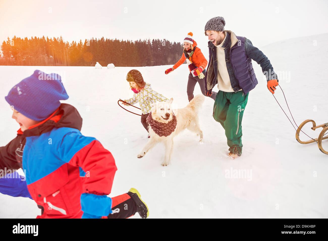 Famiglia in esecuzione nella neve con il cane Immagini Stock