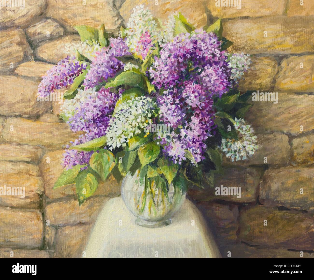 Un dipinto ad olio su tela di una splendida vita ancora con la fioritura di lillà in un bel vaso di vetro su Immagini Stock