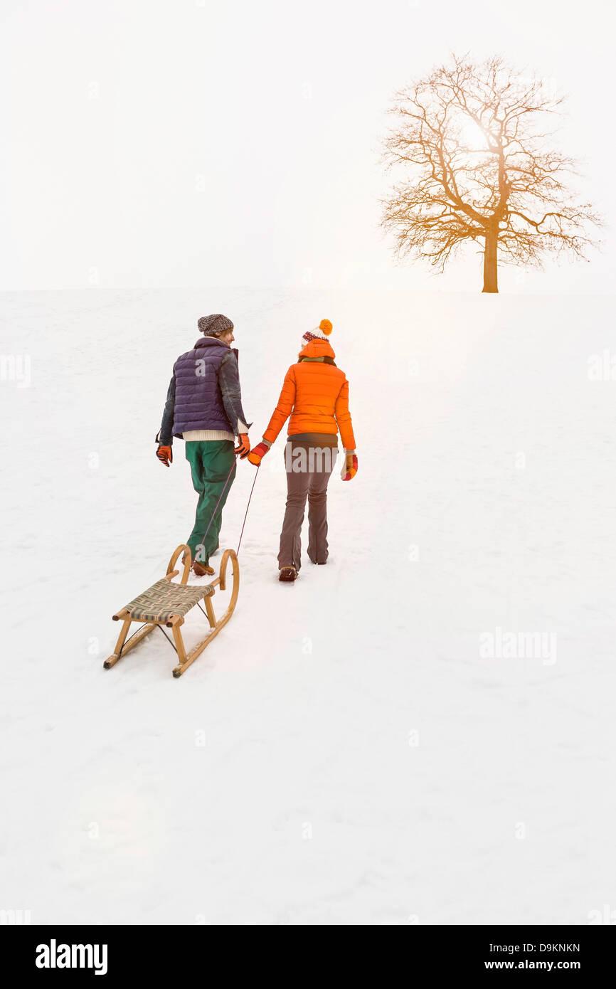 Giovane tirando lo slittino in snow Immagini Stock