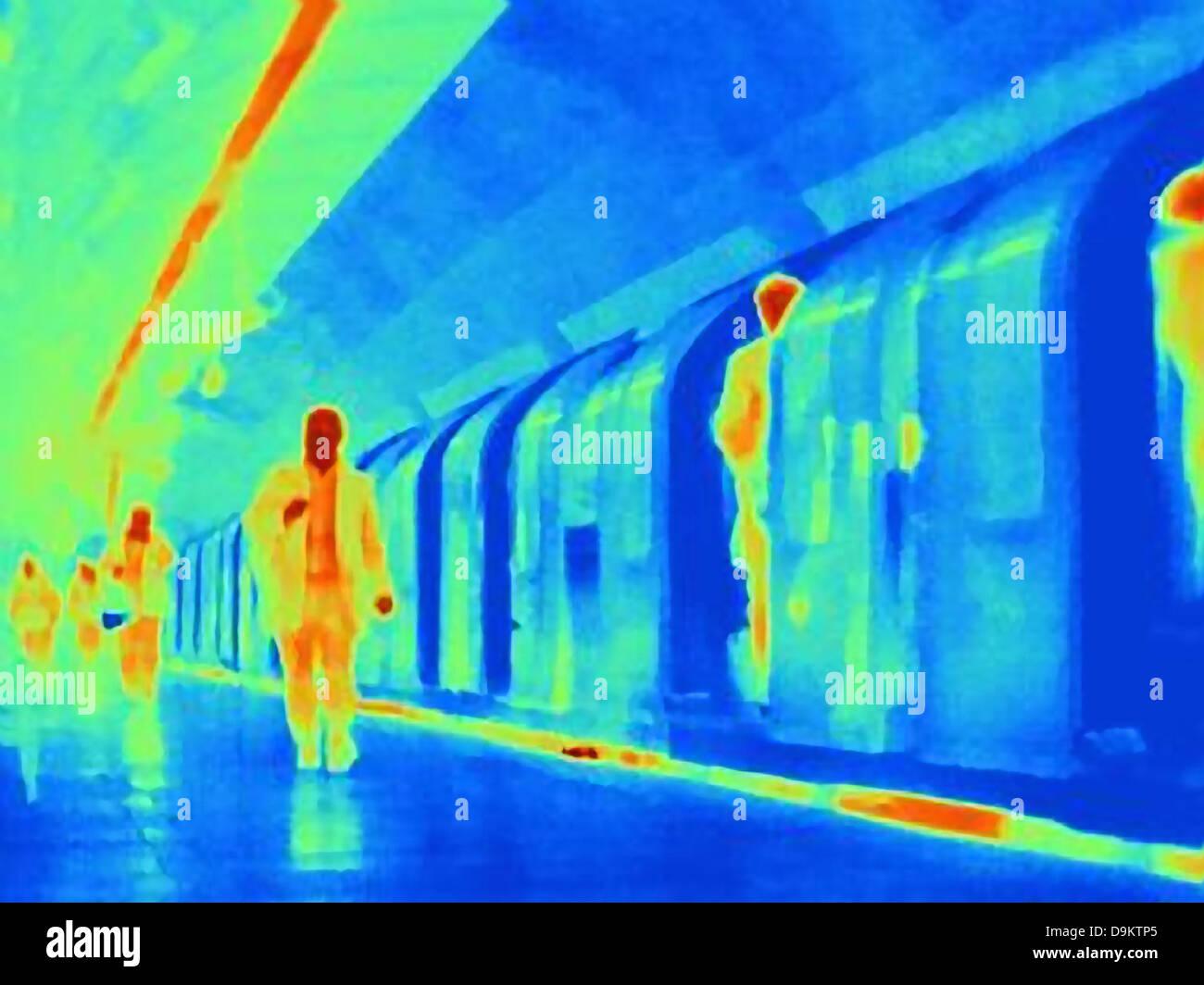 Immagine termica della metropolitana e pendolari Immagini Stock