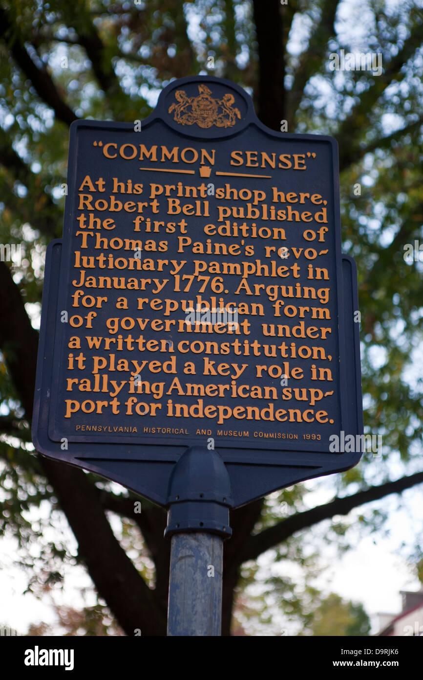 Il senso comune presso il suo negozio di stampa qui, Robert Bell ha pubblicato la prima edizione di Thomas Paine's Immagini Stock