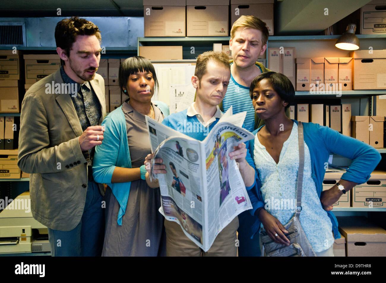 """London, Regno Unito - 26 Giugno 2013: Theater-Rites - """"Banca su di esso """" è un interattivo, promenade Immagini Stock"""