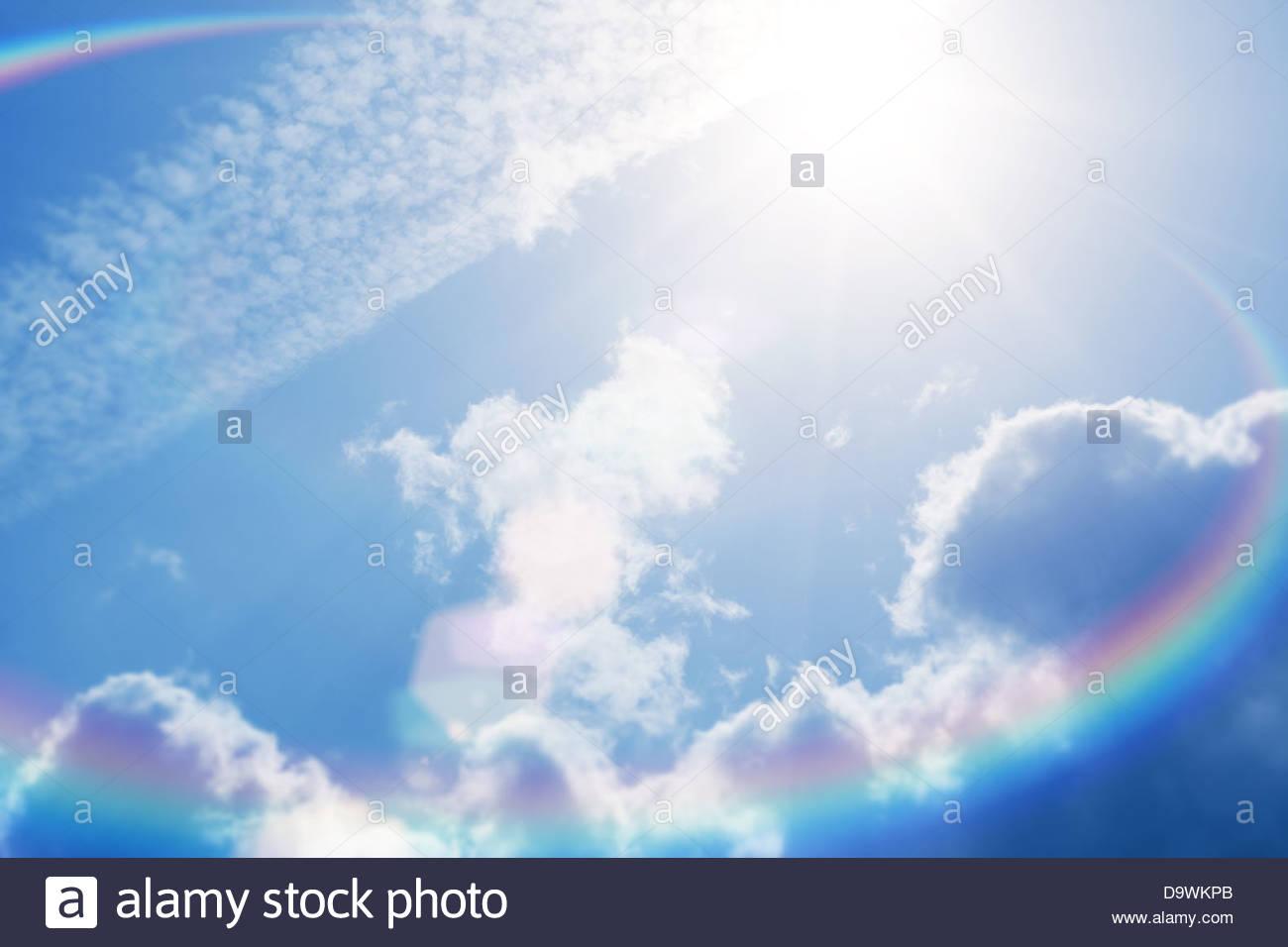 Sun flare cielo luminoso Immagini Stock