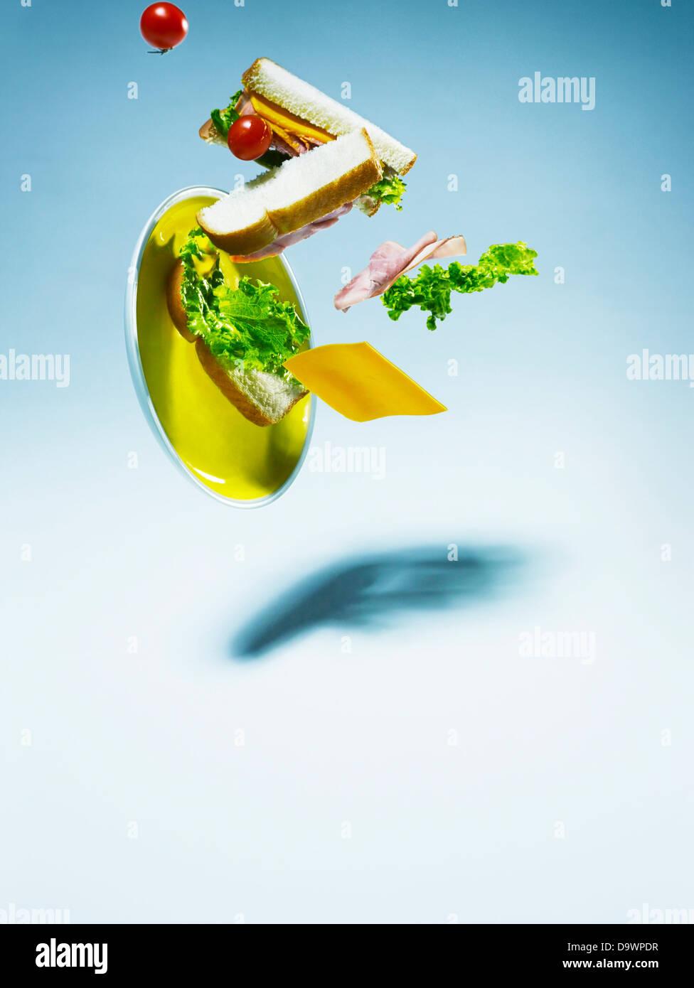 Sandwich di caduta Immagini Stock