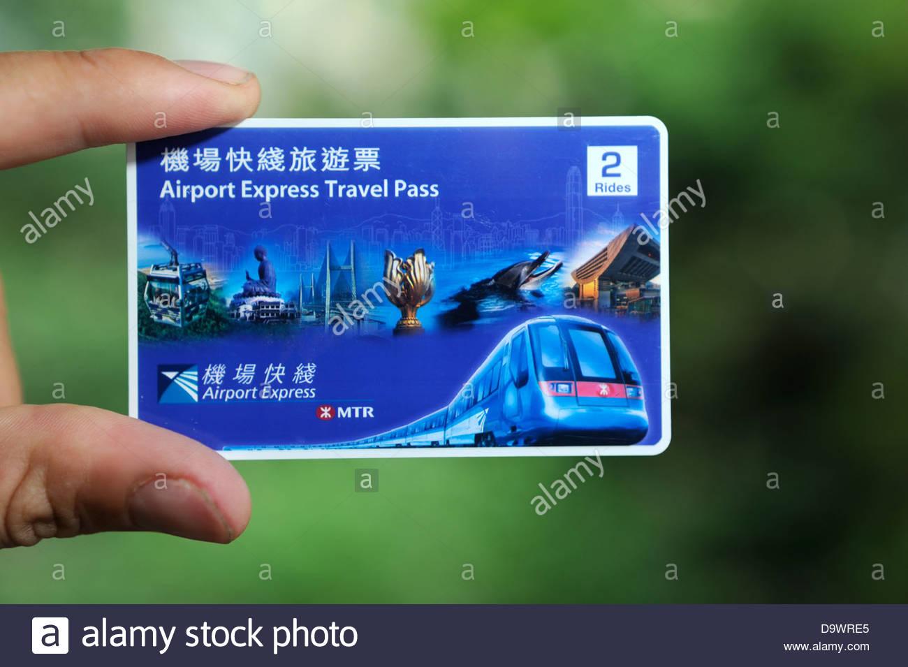 Hong Kong Airport Express travel pass. Immagini Stock