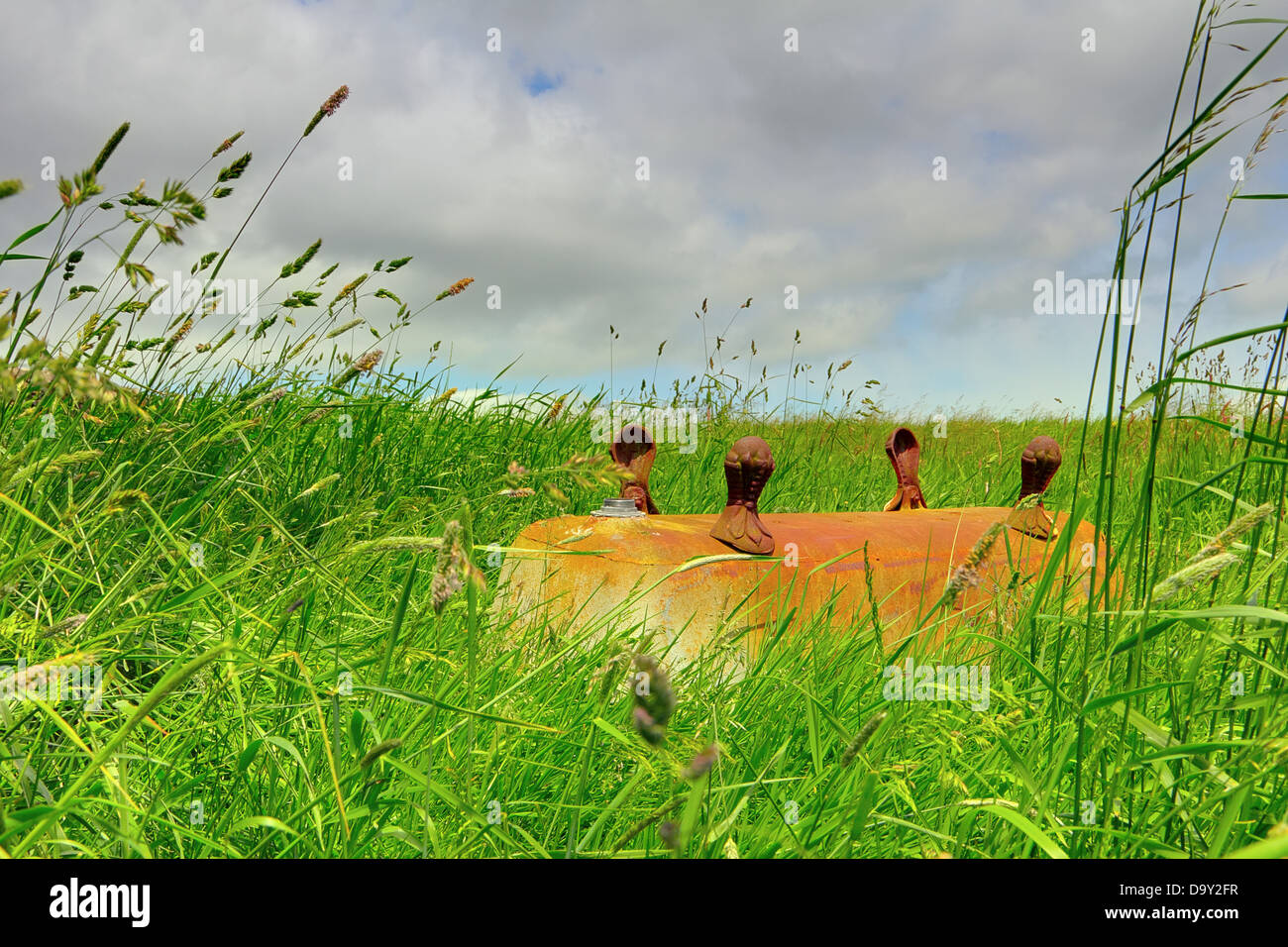 Vasca Da Bagno Arrugginita : Capovolta vecchio arrugginito vasca da bagno in un campo foto