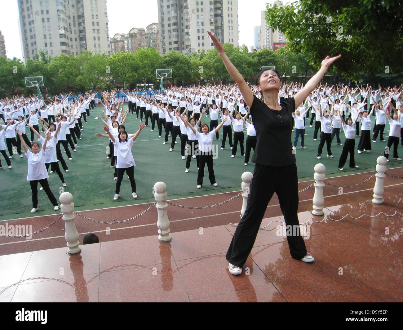 Shanghai vita comunitaria esercizi esercizio sport Immagini Stock