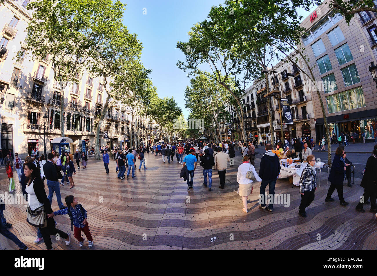 Les Rambles, una famosa strada di Barcellona (Spagna). Immagini Stock