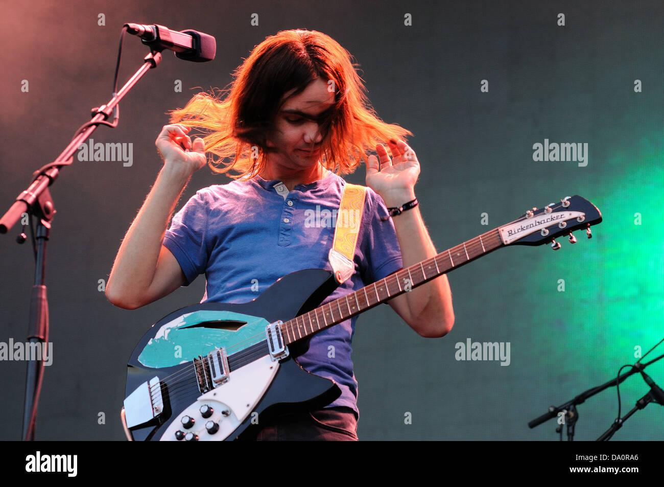 Barcellona - 23 Maggio: Kevin Parker, cantante e chitarrista di Tame Impala, rock psichedelico band, esegue a primavera Immagini Stock