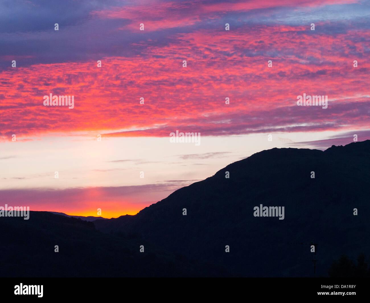 Fairfield al tramonto, Lake District, UK. Immagini Stock