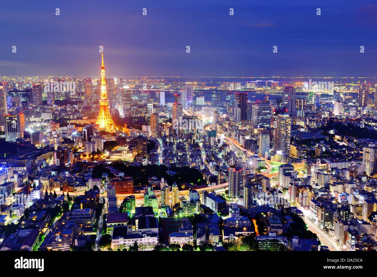 Skyline di Tokyo, Giappone. Immagini Stock