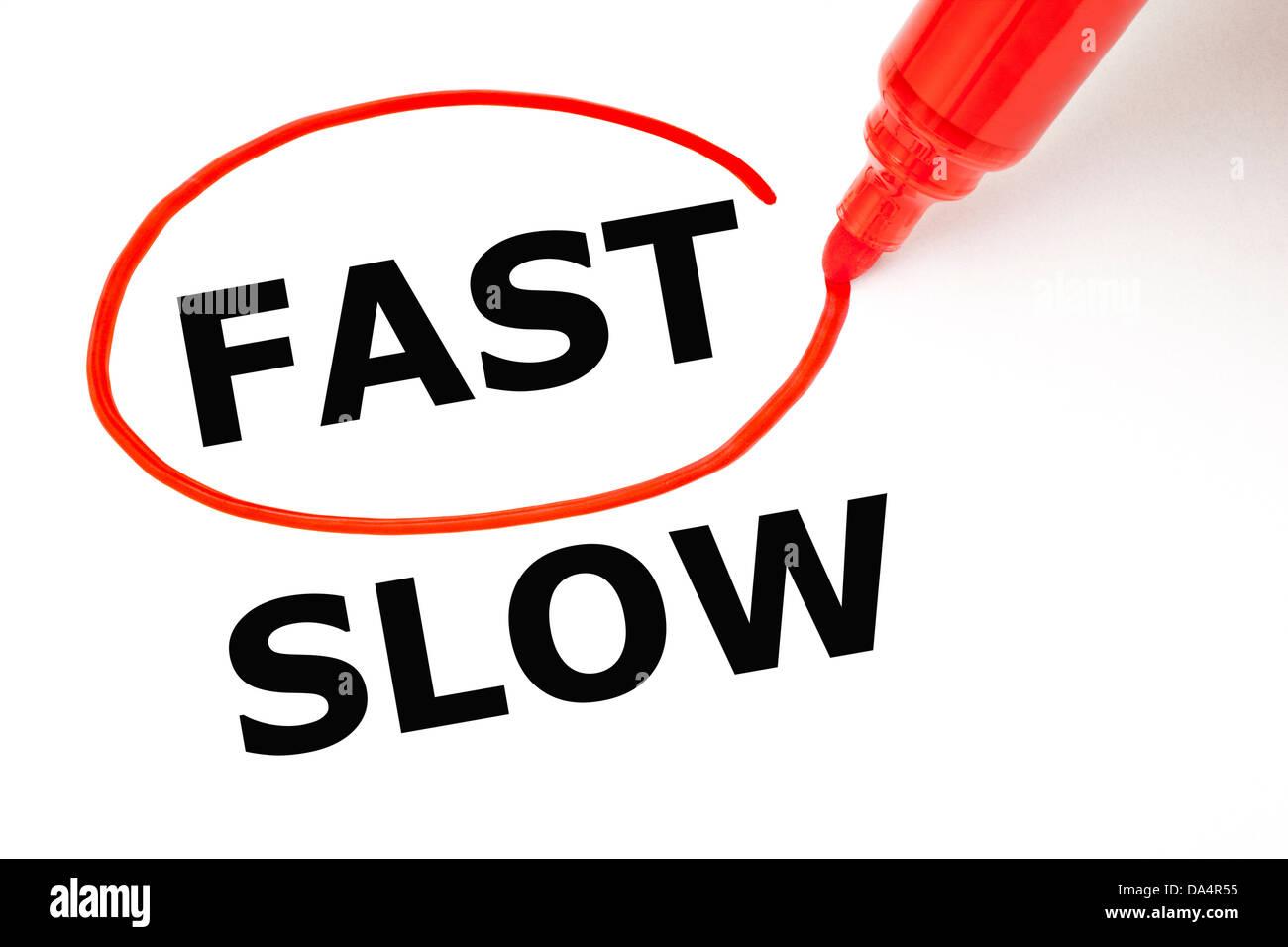 Scelta rapida invece di rallentare. Fast selezionati con contrassegno rosso. Immagini Stock