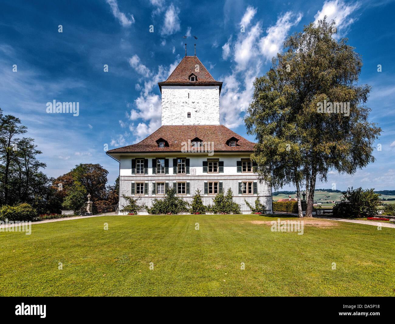 Nobiltà, avenue, Emmental, Canton Berna Berna, paese gentry, park, il castello, il parco del castello, Schlosswil, Immagini Stock