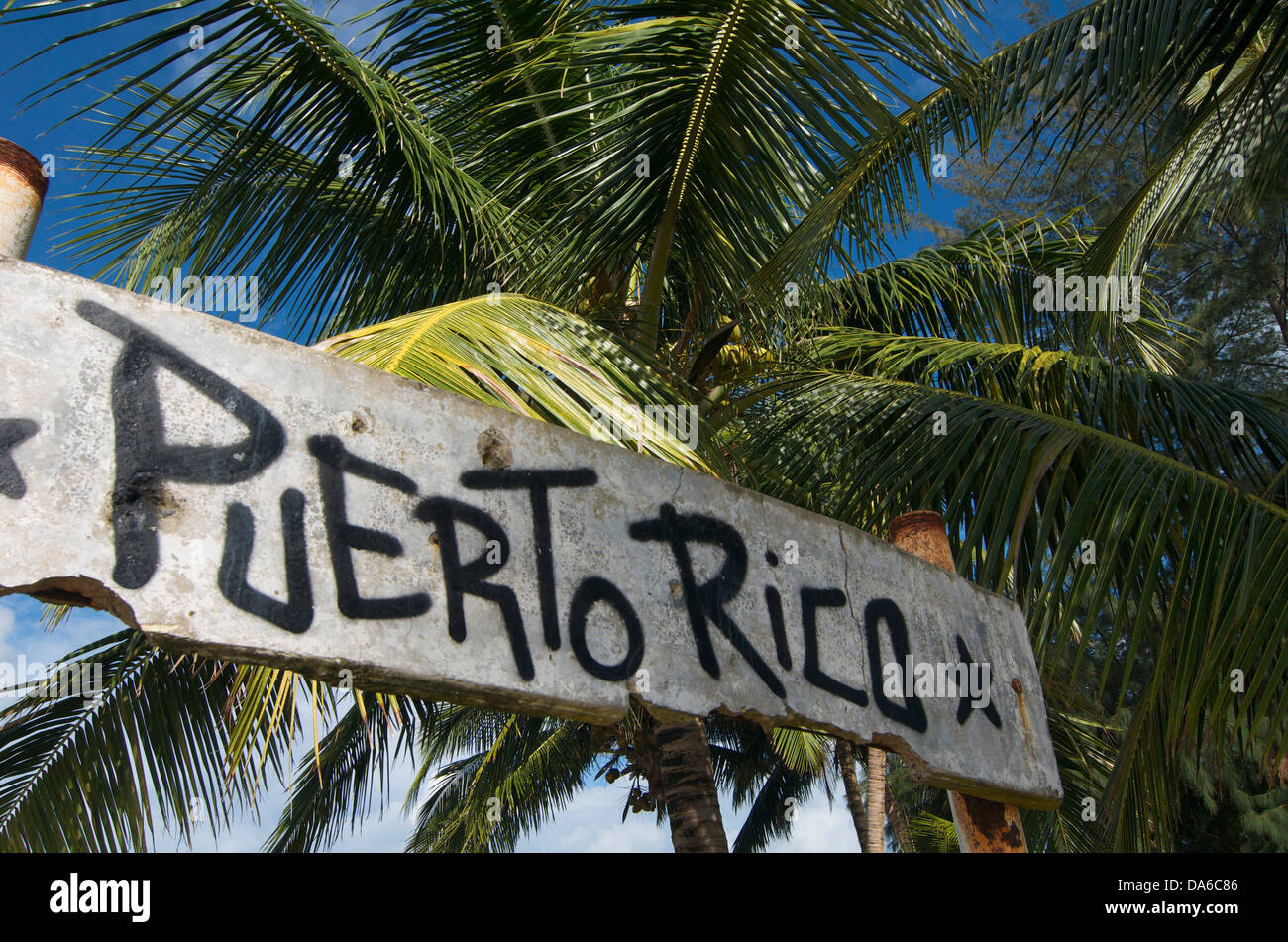 Puerto Rico, Caraibi, Antille Maggiori, Antille, Luquillo, Palm Beach, spiagge di palma, la spiaggia di sabbia delle Immagini Stock