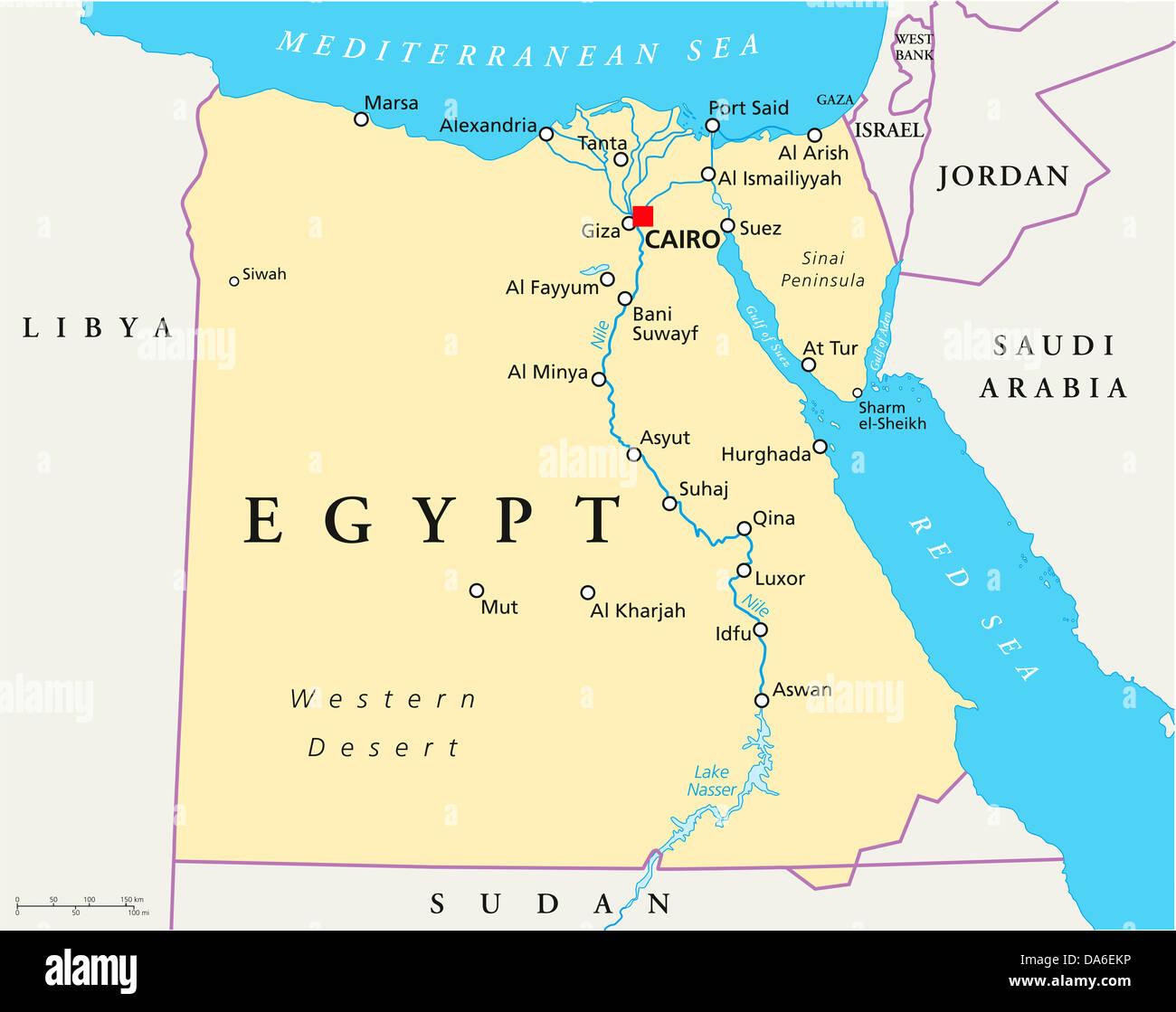 Cartina Turistica Egitto.Mappa Di Egitto Foto Stock Alamy