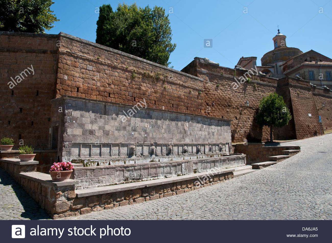 Butinale,la fontana delle sette cannelle,Tuscania,lazio,Italia Immagini Stock