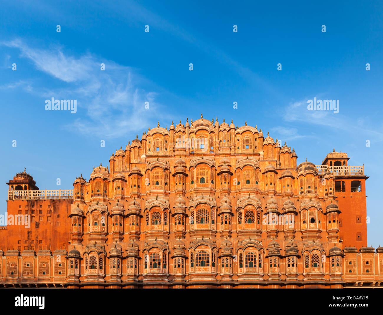 Famosa Rajasthan landmark - Hawa Mahal Palace (Palazzo dei venti), Jaipur, Rajasthan Immagini Stock