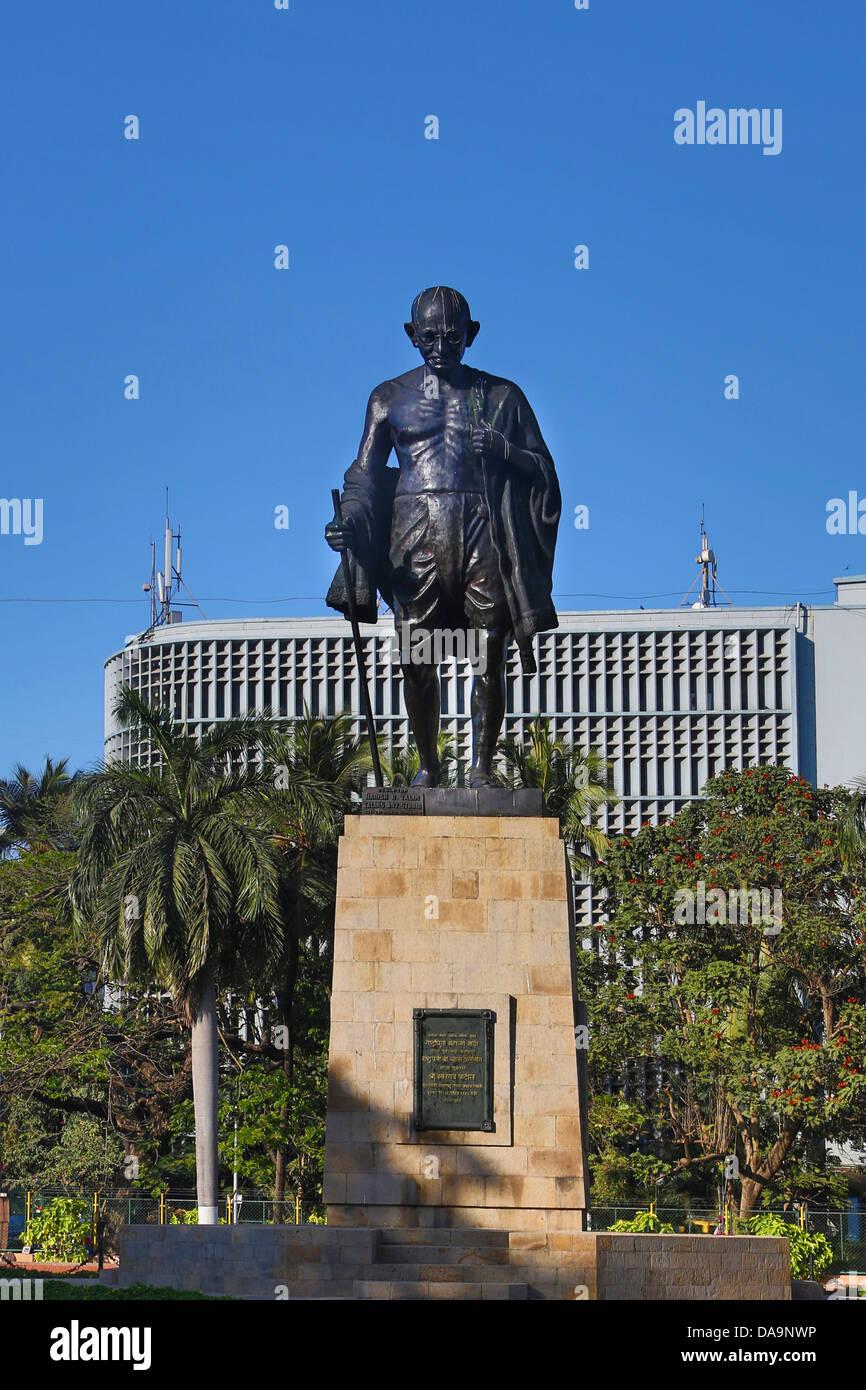 India India del Sud, Asia, Maharashtra, Mumbai Bombay, città, monumento di Gandhi, Gandhi, statua, storia, Immagini Stock