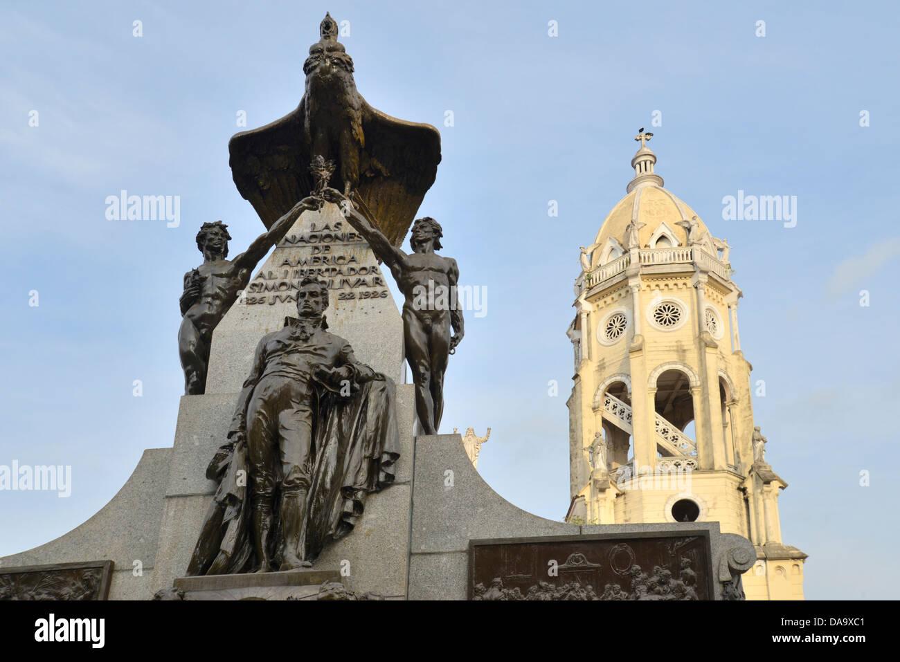 America centrale, Panama city, Casco Viejo, città vecchia, monumento, bolivar, chiesa, Panama Immagini Stock