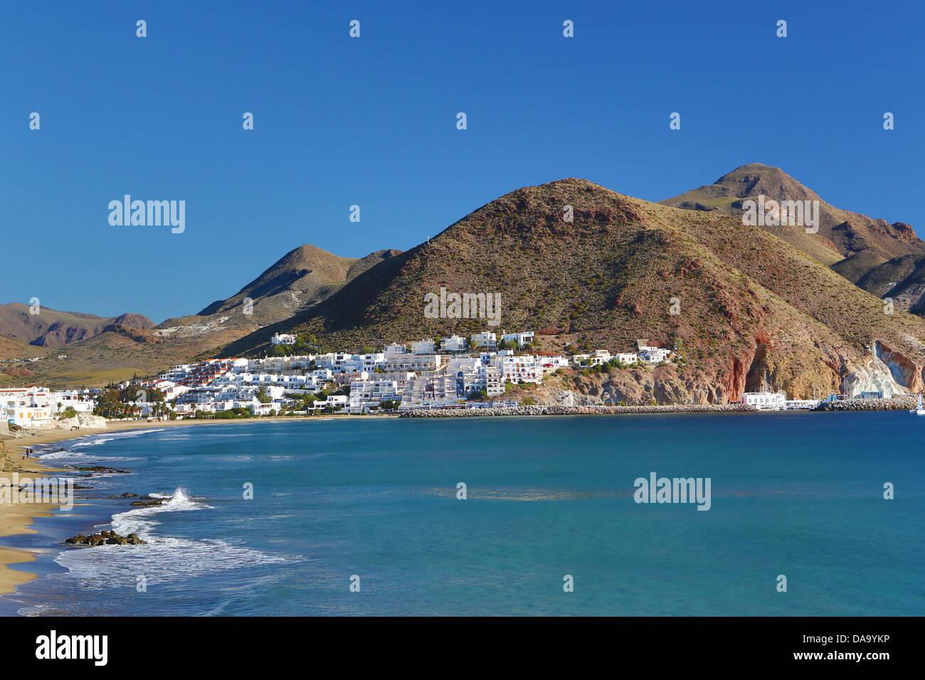 Almeria, Spagna, Europa, Andalusia, San Jose, spiaggia, blu, costa, paesaggio, Mediterraneo, pueblo, turistica, Immagini Stock