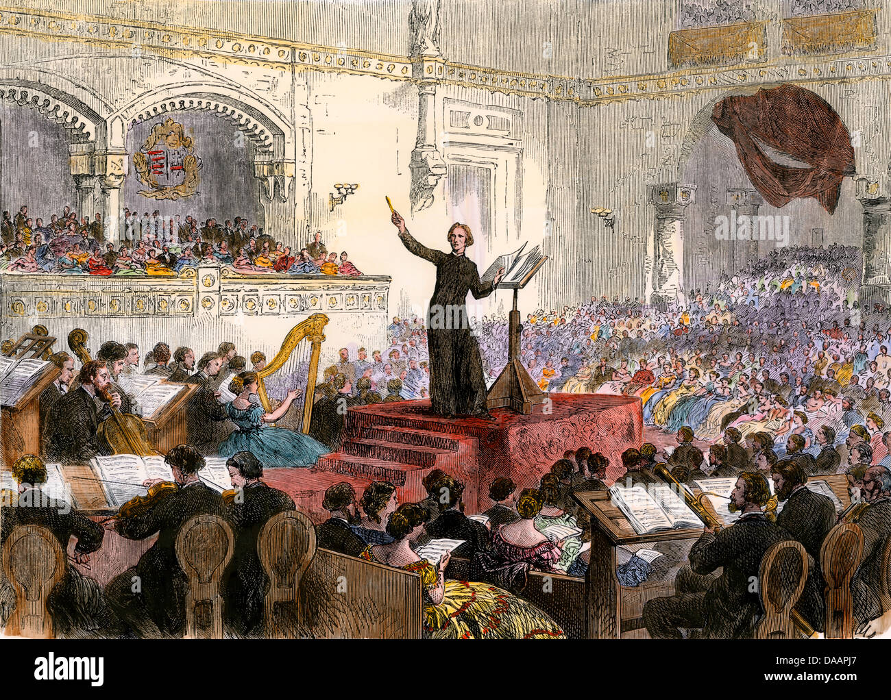 Franz Liszt conducendo il suo nuovo oratorio a Budapest, Ungheria, 1860s. Colorate a mano la xilografia Foto Stock