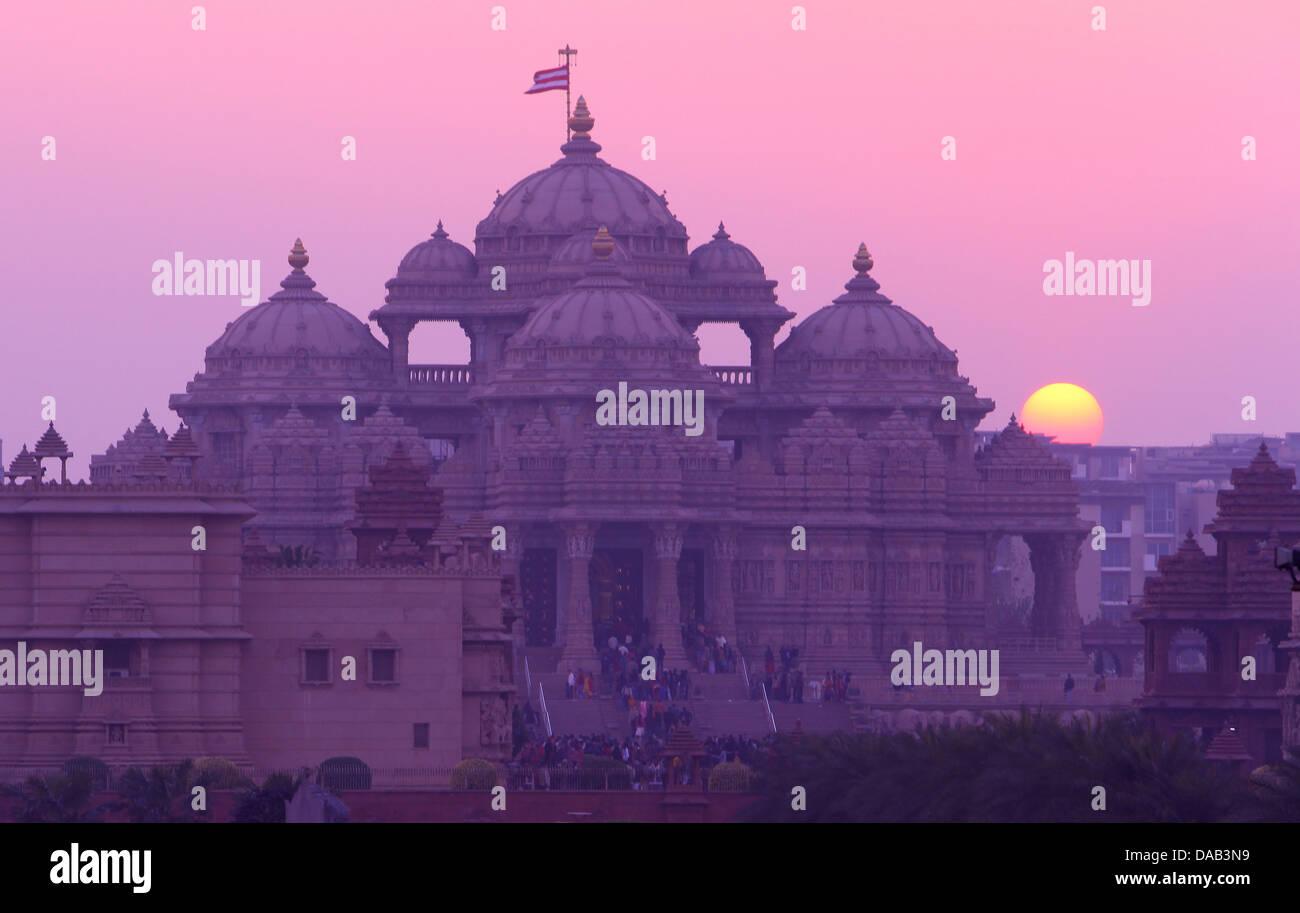 Akshardham, tempio, sun, tramonto, tramonto, New Delhi, India, Asia Immagini Stock