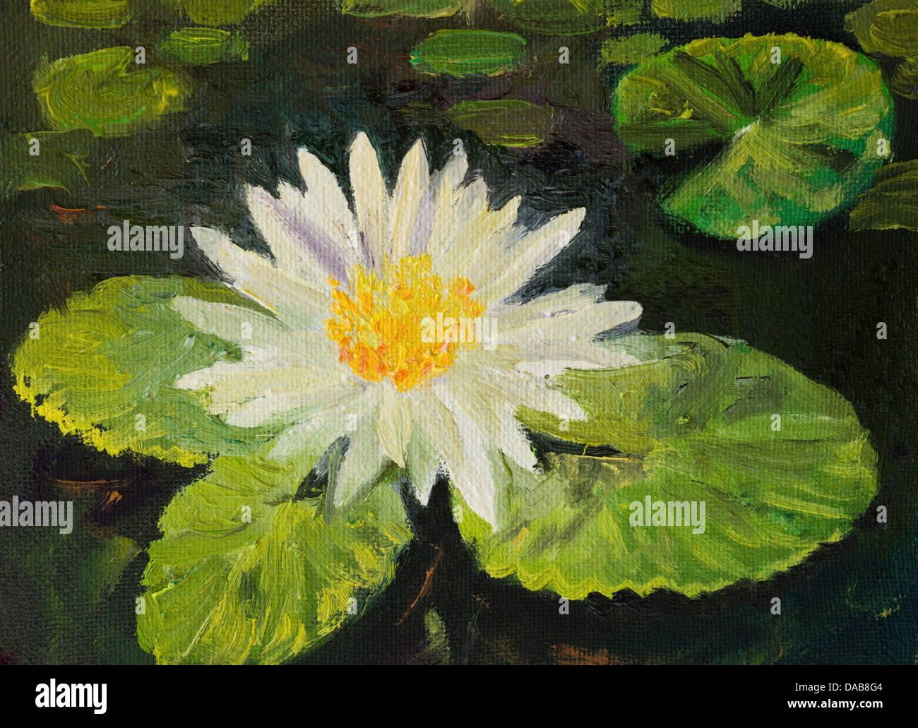 Un dipinto ad olio su un giglio di acqua in un laghetto con le foglie colorate e luminose blossom. Immagini Stock