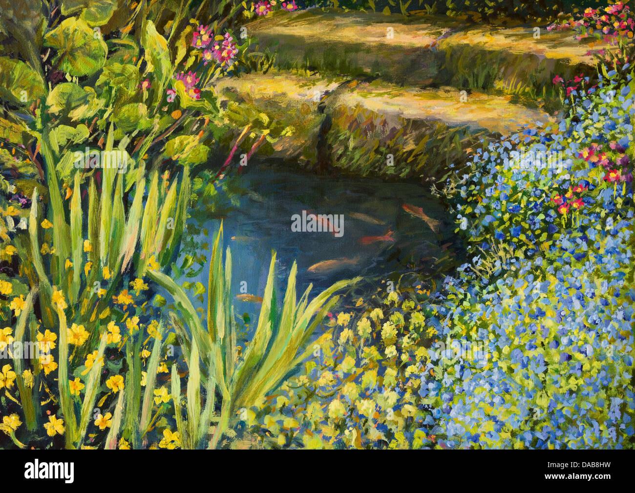 Un dipinto ad olio su tela di una piccola e tranquilla laghetto con pesci e coloratissimi fiori che sbocciano. Immagini Stock