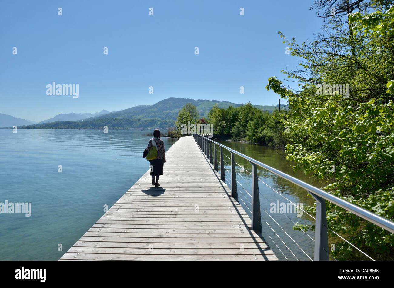 Causeway in legno sul lago di Zurigo vicino a Wädenswil, Svizzera Immagini Stock