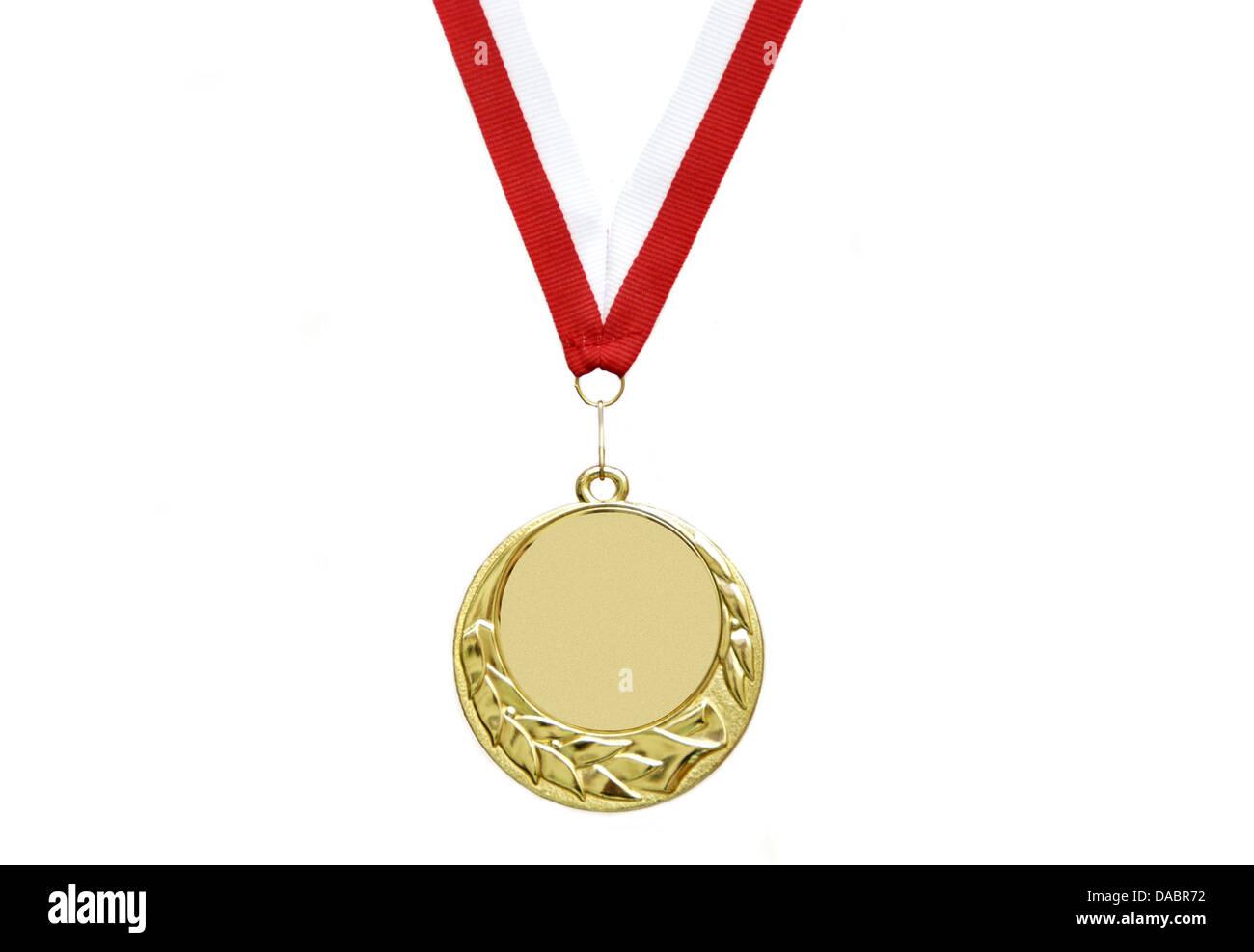 Medaglia d'oro con nastro Immagini Stock