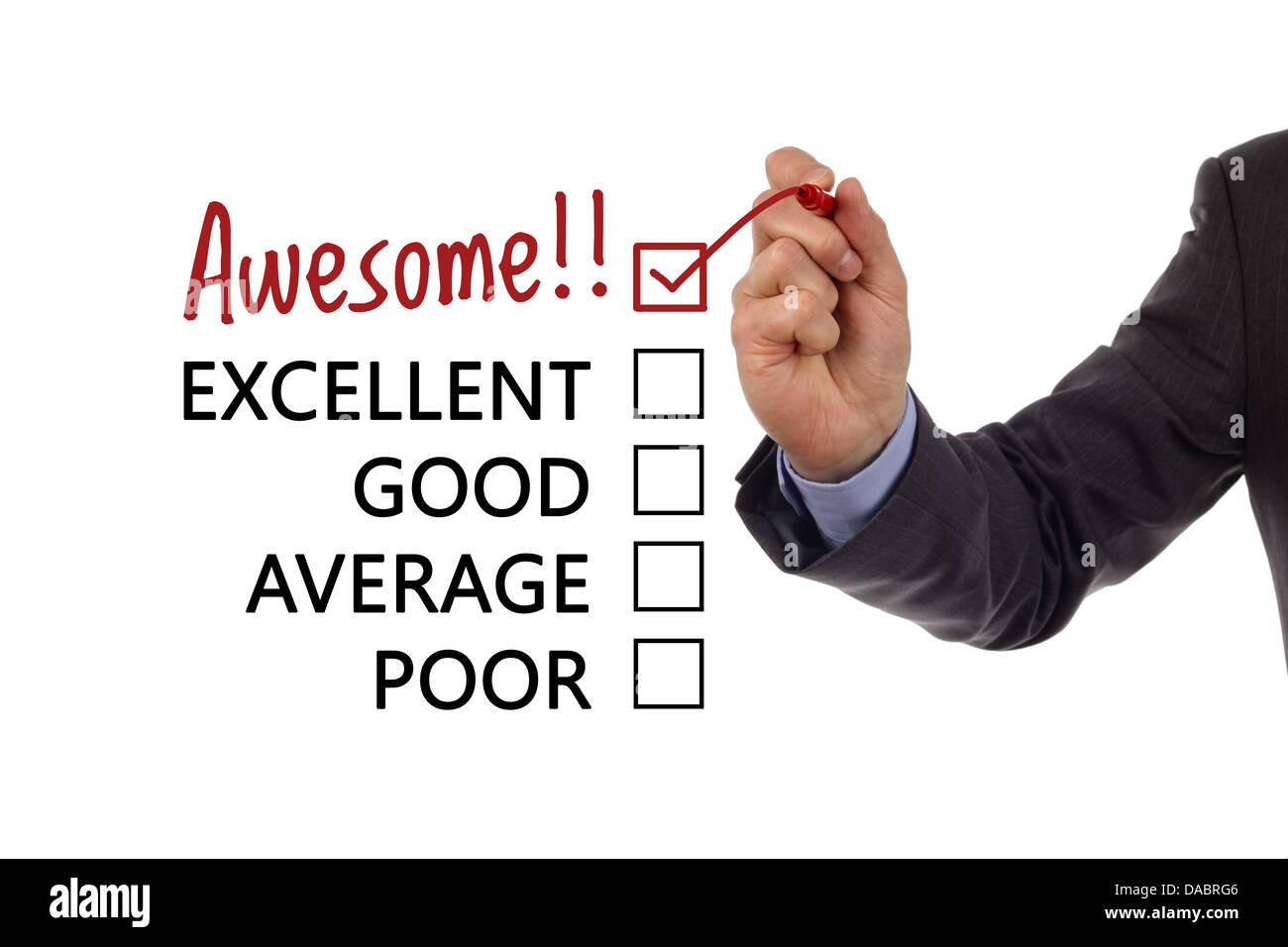 Servizio clienti sondaggio sulla soddisfazione Foto Stock