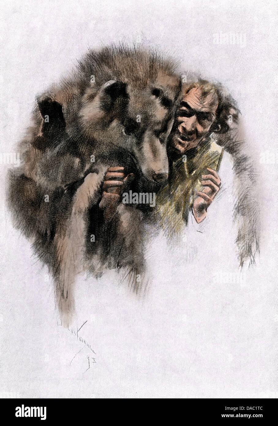 Loup-garou, un francese canadese mannaro legenda, 1800s. Colorate a mano la xilografia Immagini Stock