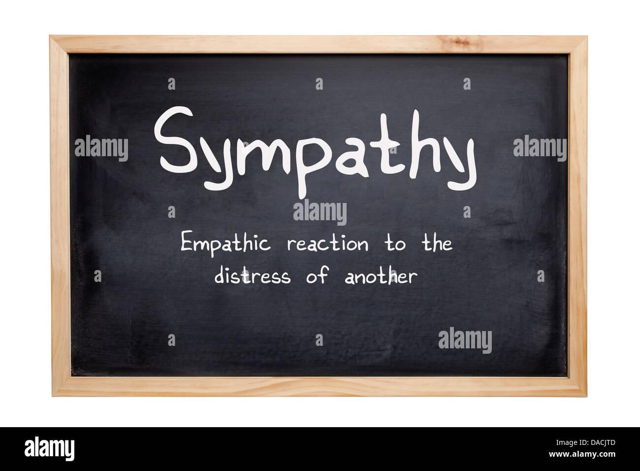 Concetto di simpatia - una lavagna a fogli mobili con le parole di simpatia, un simpatico reazione alla sofferenza Immagini Stock