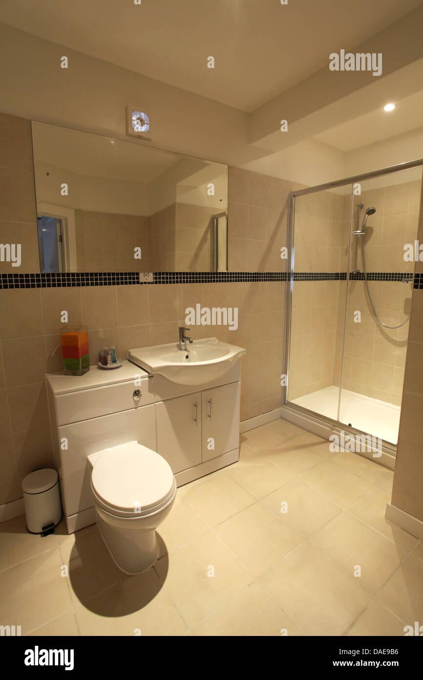440aaf6be0 Interno di un hotel bagno con luci a soffitto, cabina doccia e wc e arredi.