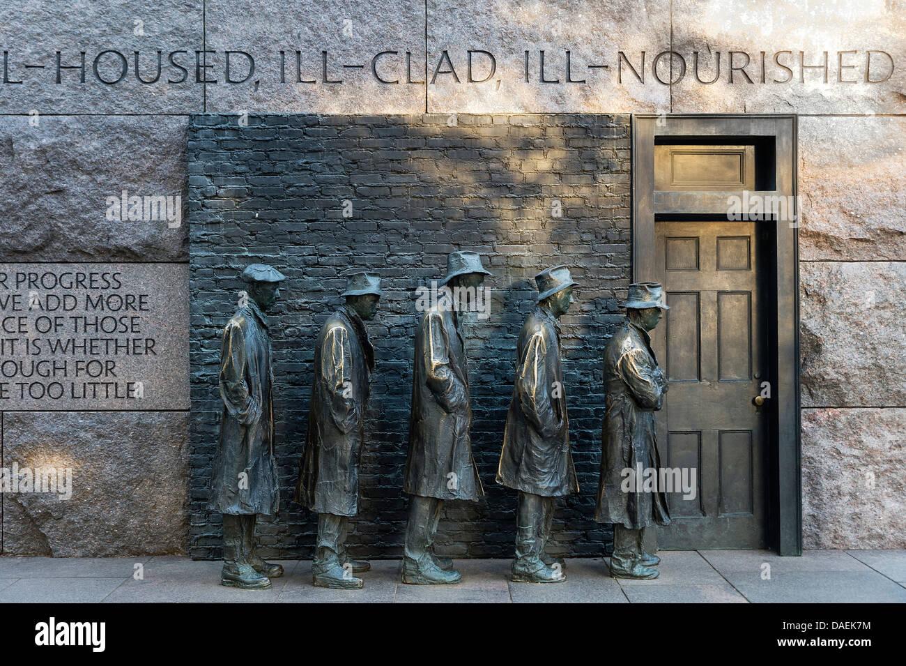 """"""" Il pane """" Linea scultura da George Segal raffigurante la Grande Depressione, Franklin Delano Roosevelt Immagini Stock"""