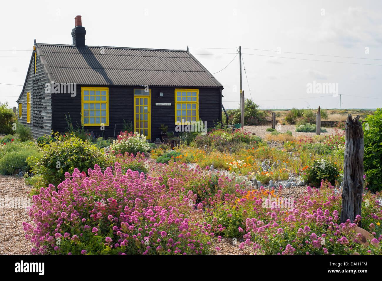 Prospettiva Cottage, Dungeness, Kent, Regno Unito Foto Stock