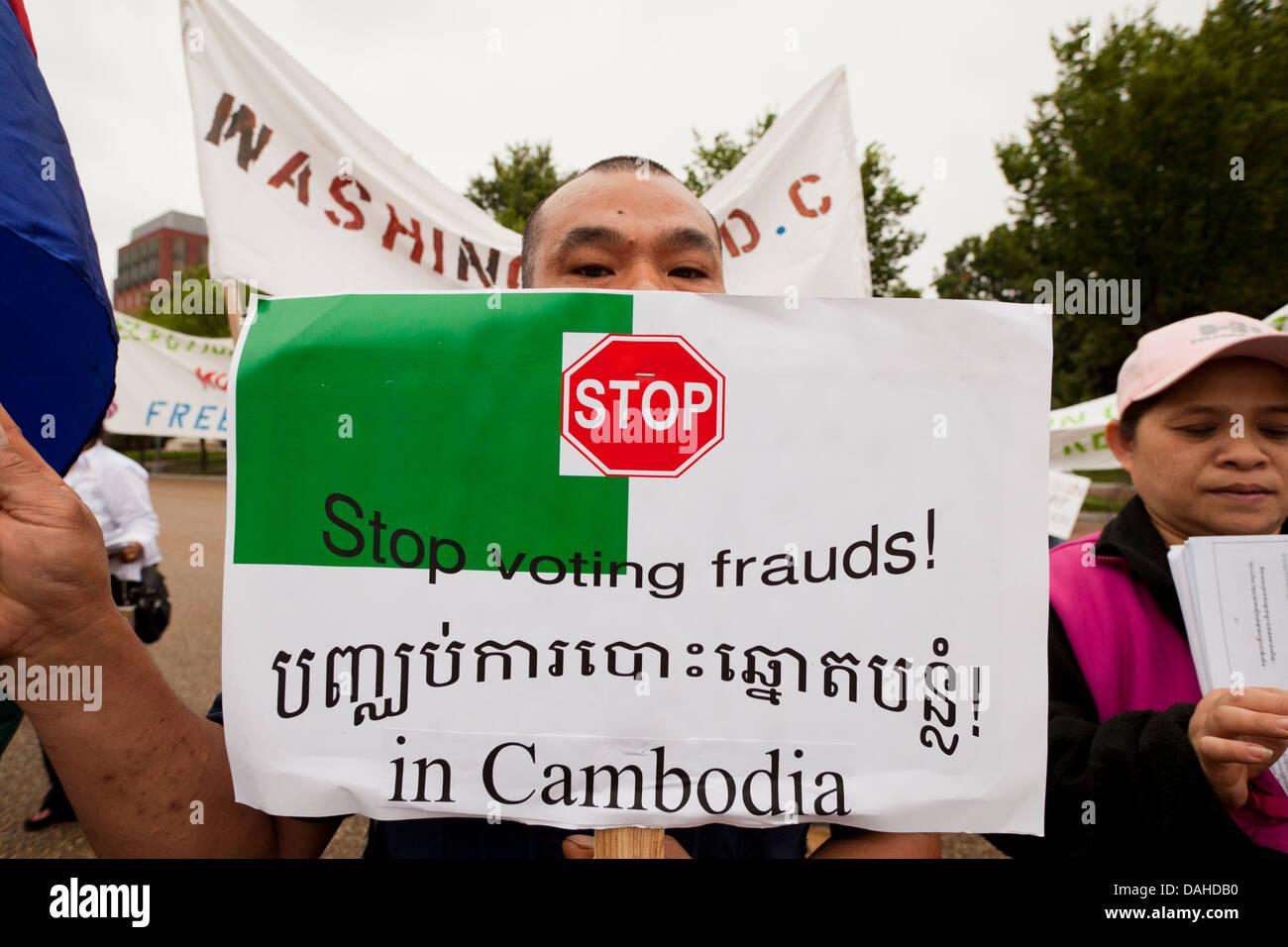Manifestante cambogiano in Washington DC, Stati Uniti d'America Immagini Stock