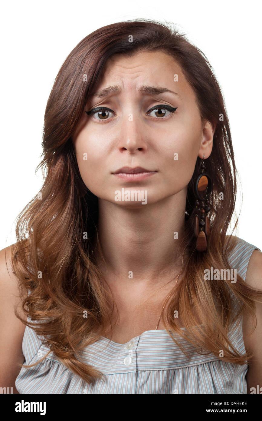Peccato. Emozioni donna su sfondo bianco Immagini Stock