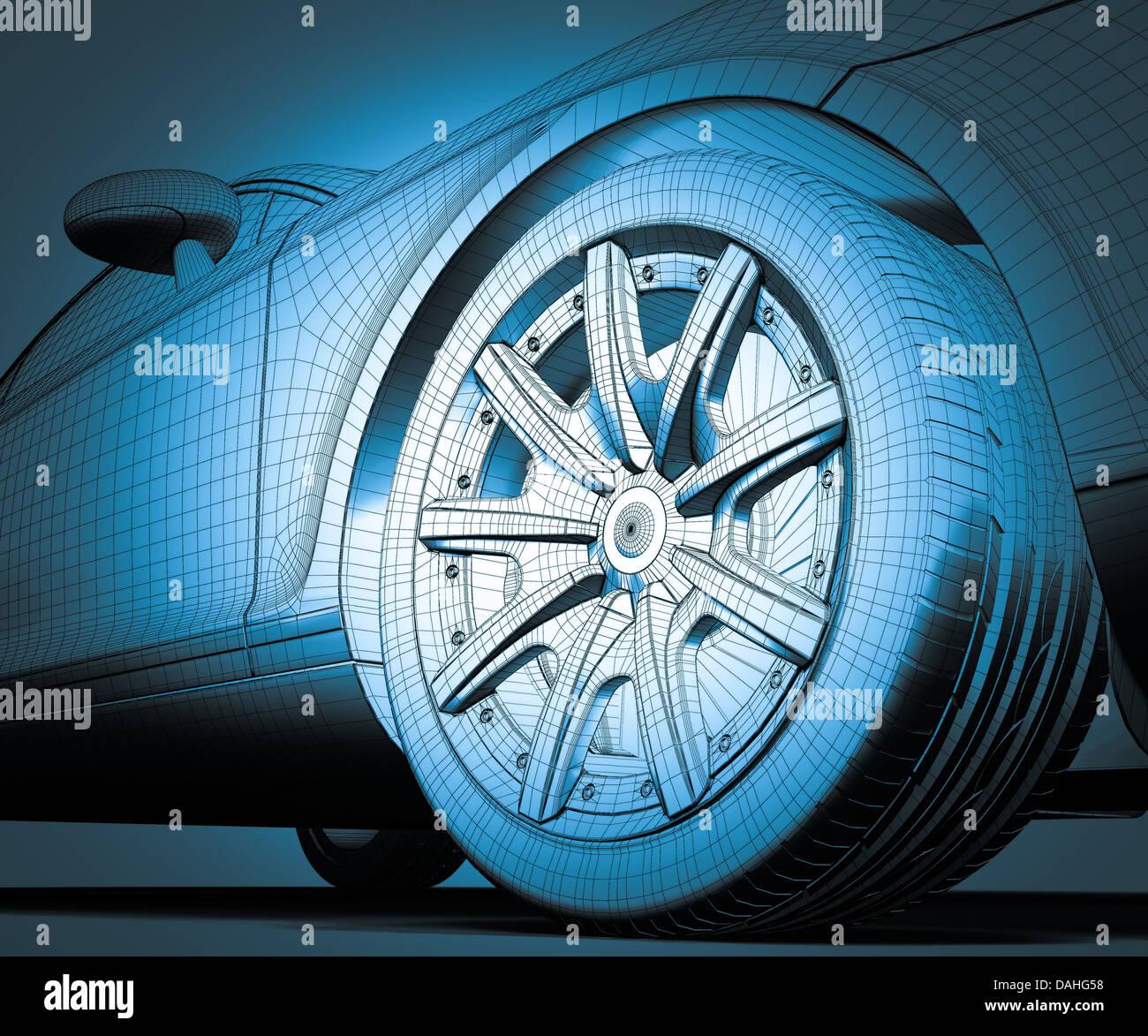 modello 3D dell'automobile Immagini Stock