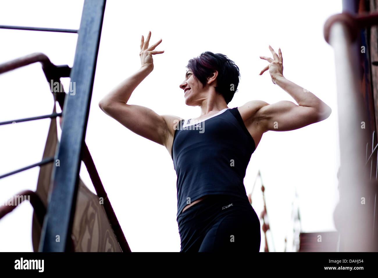 Jo Perruzza allestitore carrozziere di bodybuilding body building Immagini Stock
