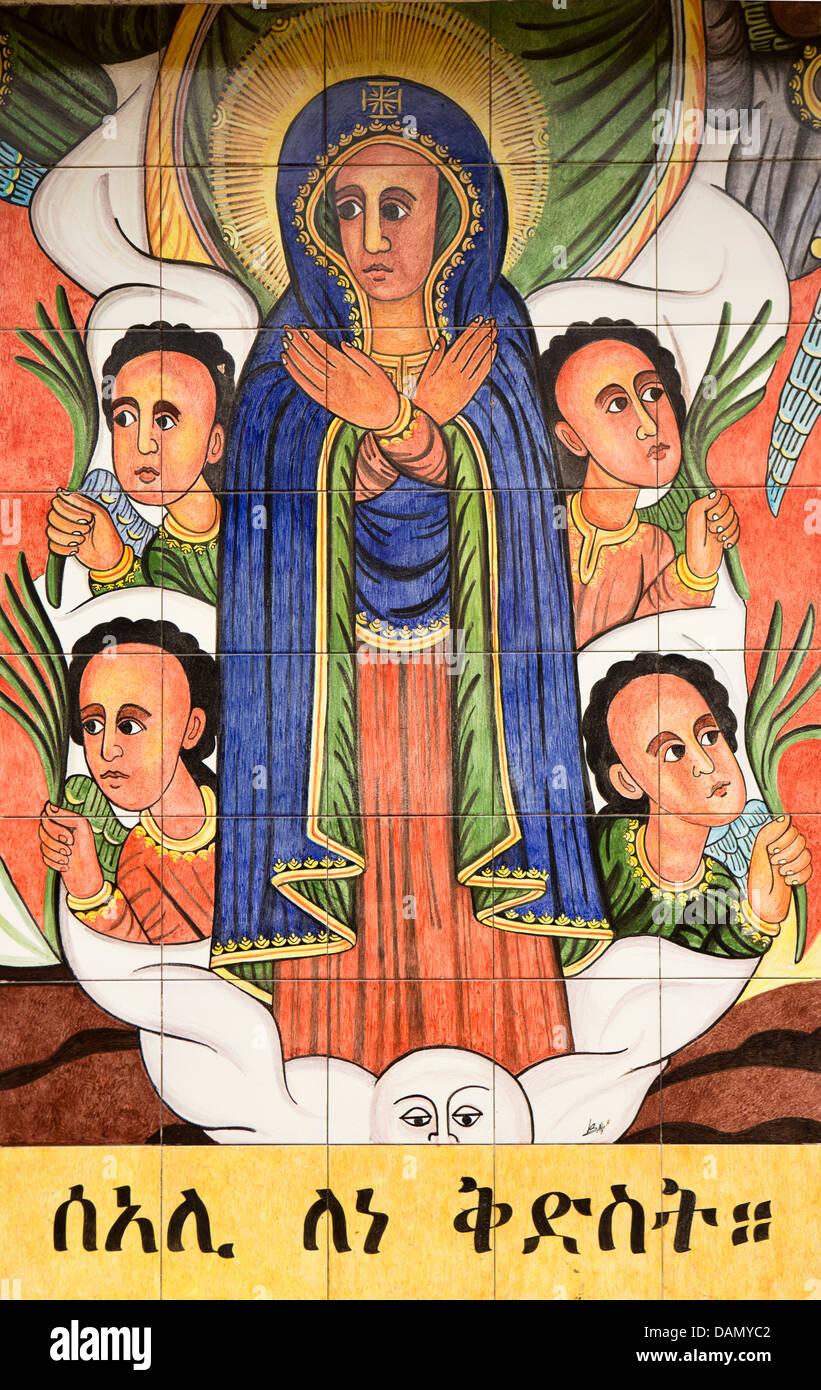 Africa, Eritrea, Massaua, Tualud Island, l'arte religiosa, dipinto murale sulla chiesa cattolica la parete Immagini Stock