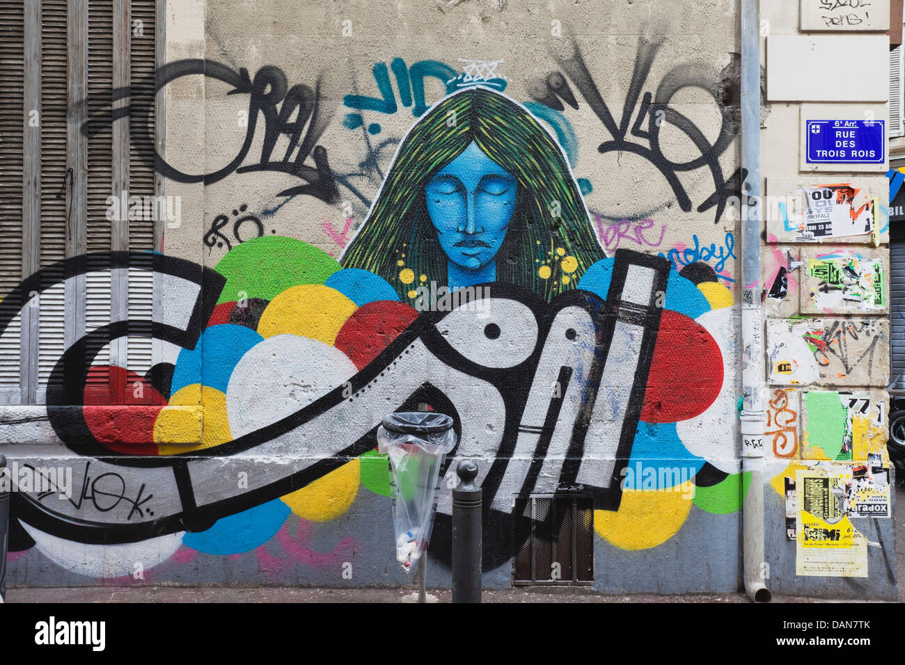 Europa, Francia, Marsiglia, vista di spruzzare la facciata della casa Immagini Stock