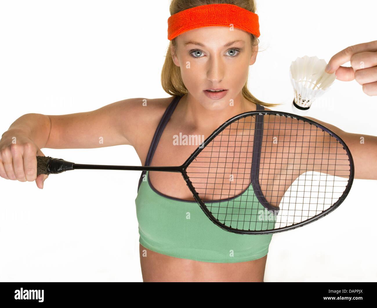 Studio ritratto femminile di badminton player Immagini Stock