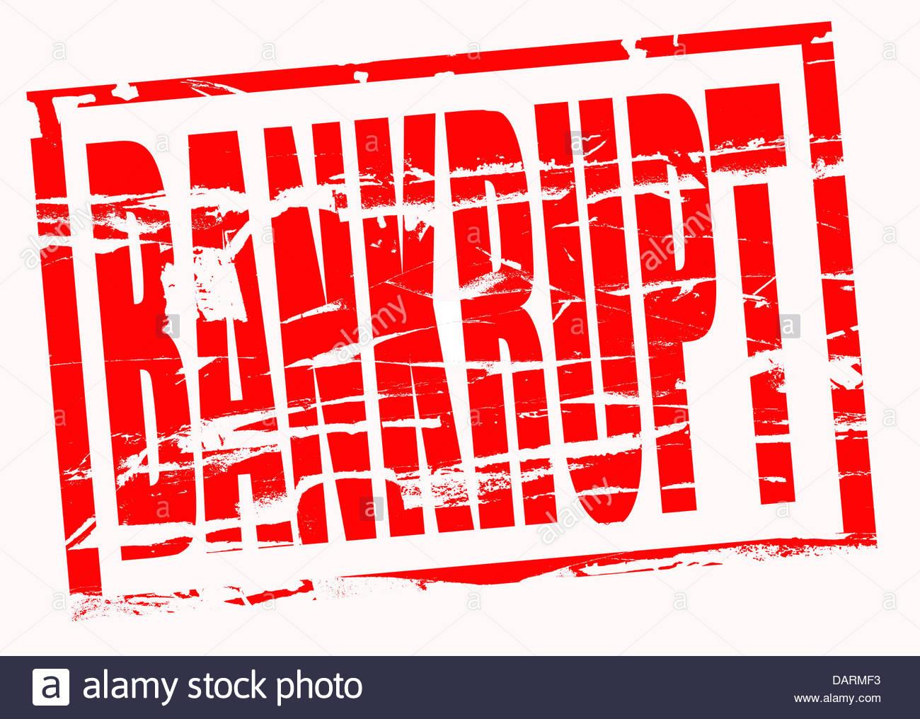 Composito Digitale timbro di gomma. In bancarotta. Immagini Stock