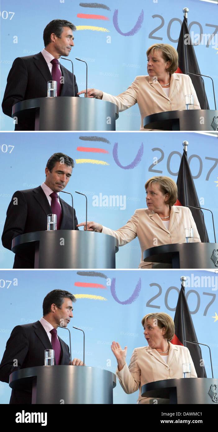 Il combo immagine mostra il Cancelliere tedesco Angela Merkel (R) e il Primo Ministro danese Anders Fogh Rasmussen Immagini Stock