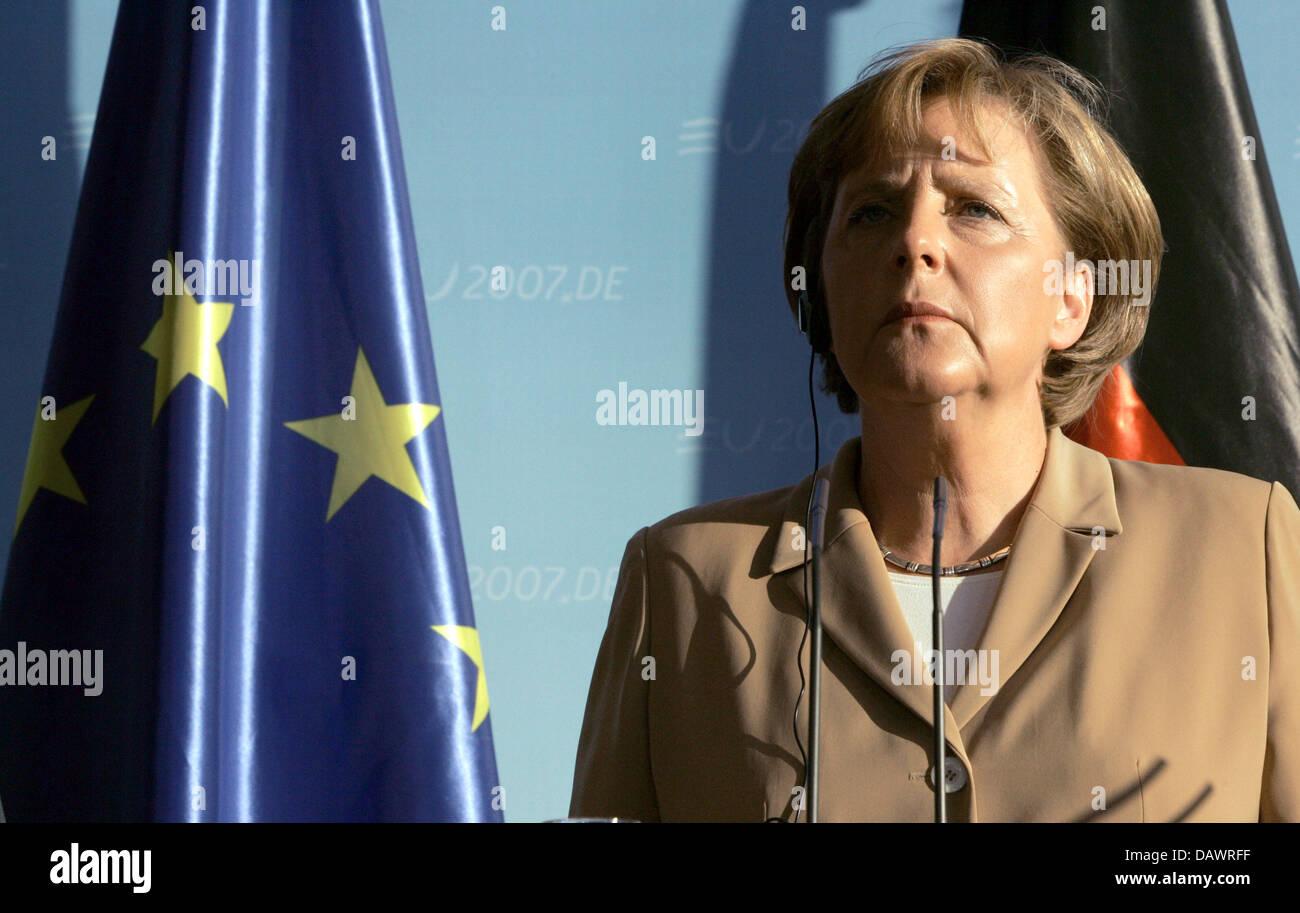 Il cancelliere tedesco Angela Merkel nella foto in occasione di una conferenza stampa presso la cancelleria di Berlino Immagini Stock