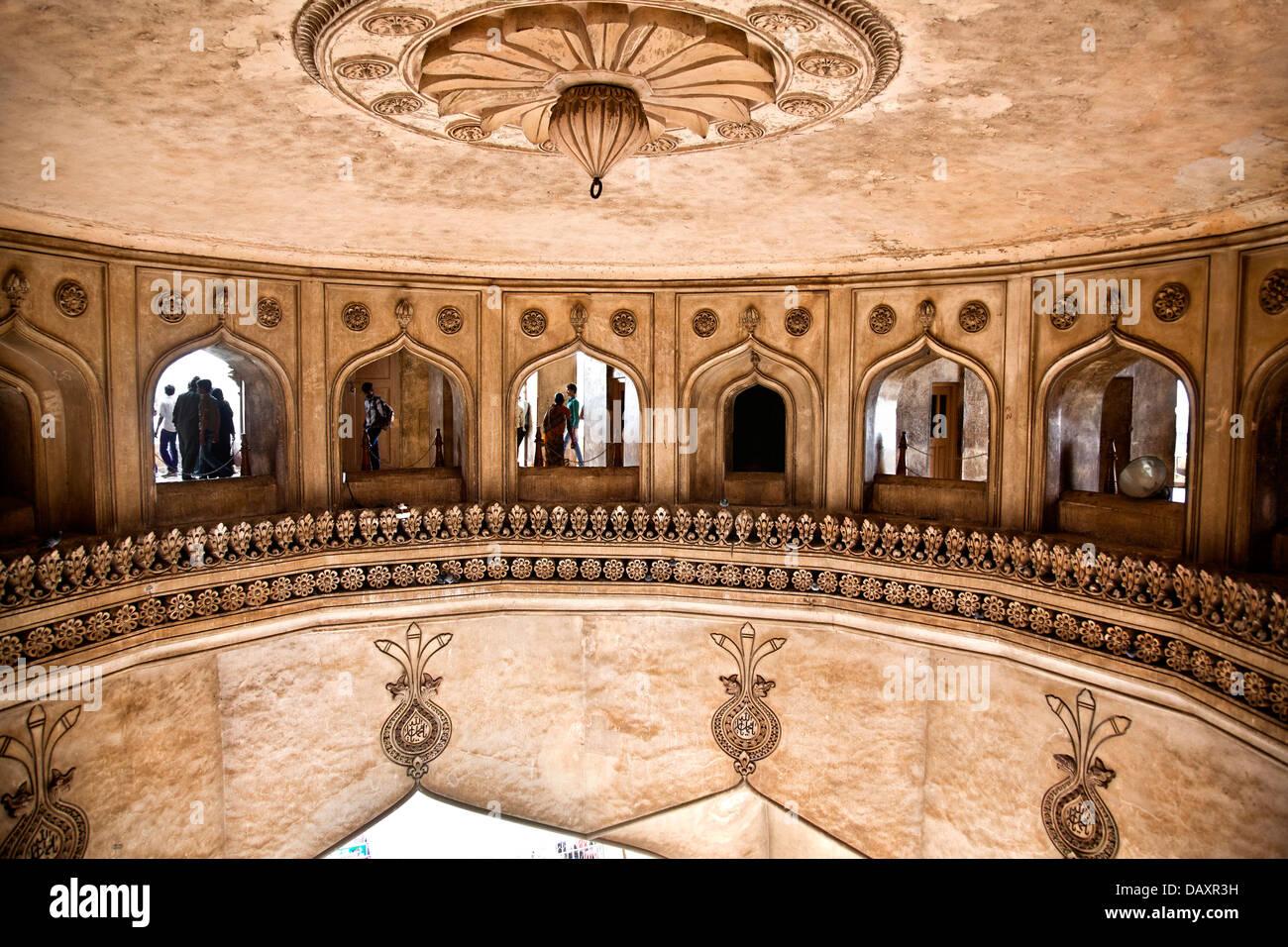 Interno del Charminar, Charminar, Hyderabad, Andhra Pradesh, India Immagini Stock